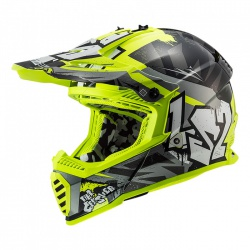 Kask LS2 MX437 Fast Evo Crusher Black H-V Yellow Enduro