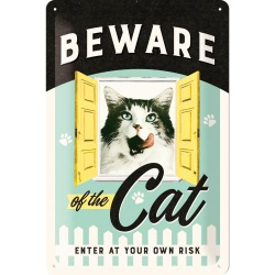 Metalowy Plakat 20 x 30cm Beware of the Cat