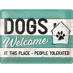 Metalowy Plakat 30 x 40cm Dogs Welcome