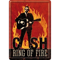 Pocztówka metalowa 14 x 10 cm Johnny Cash - Ring Of Fire